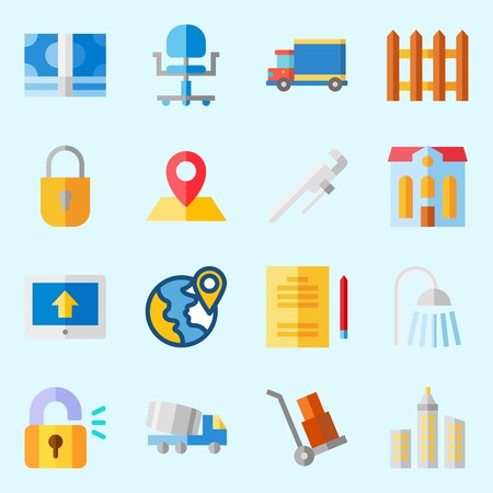 icons set about Real Assets. with up, plane, hotel, wheelbarrow, truck and location