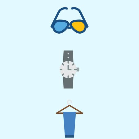 Icons about Man Clothes with trousers, sunglasses and watch Çizim
