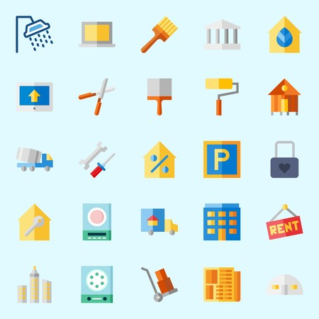 Icons about Real Assets with tools and utensils, percentage, property, shower, store house and up