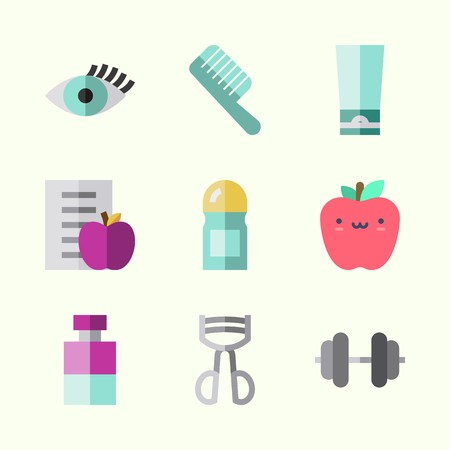 Icons about Beauty with eyelashes curler, dumbbell, eyelash, comb, deodorant and sologne