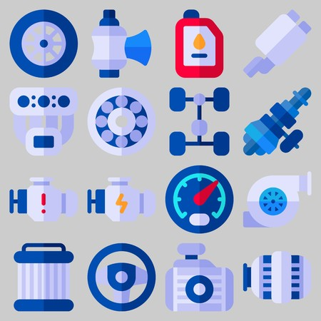 Icon set about Car Engine with keywords motor, distribution, oil, engine, chassis and gauge
