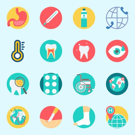 icons set about Medical. with wheelchair, tooth, tablets, stomach, water and teeth