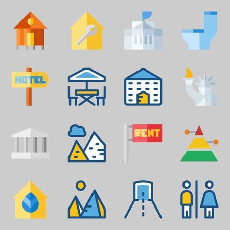 Icons set about Construction. with monumental, school and toilet
