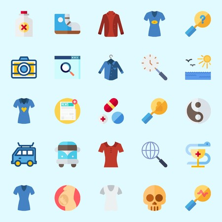 Icons about hippies with skull, sun, search, pill, pregnancy and photo camera. Illustration