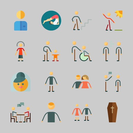 Icons about Human with selutation, walker, baby, yoga, father and son and coffin Ilustração