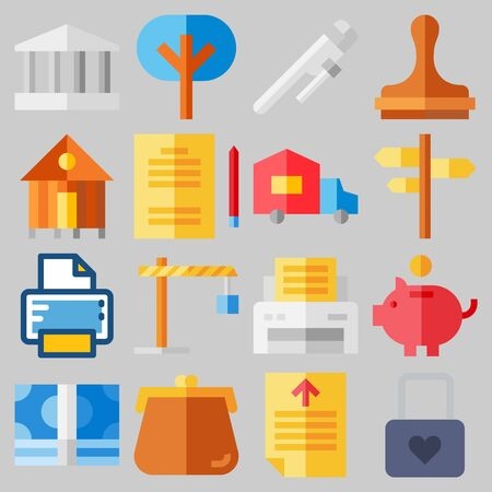 Icon set about Real Assets with keywords savings, reparation, home bus, trees, paper work and winch