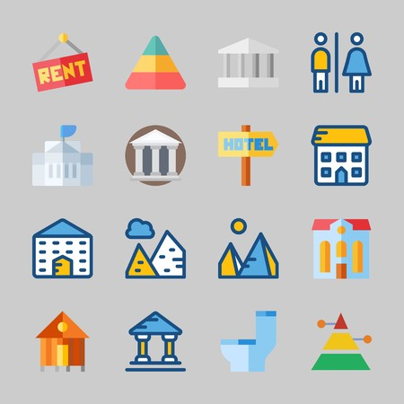 Icons about Construction with wc, pyramids, museum, rent, monumental and toilet Иллюстрация