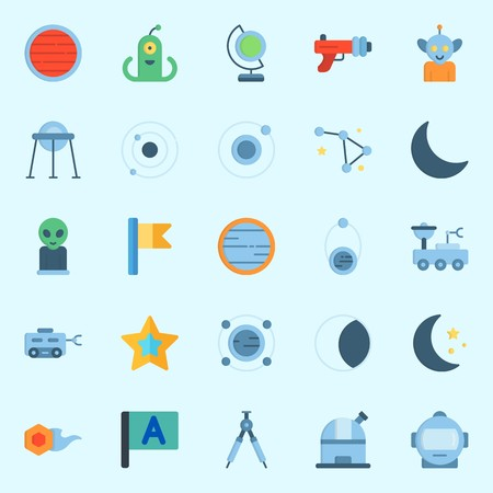 Icons about Universe with astronaut, compass, alien, neptune, constellation and capsule