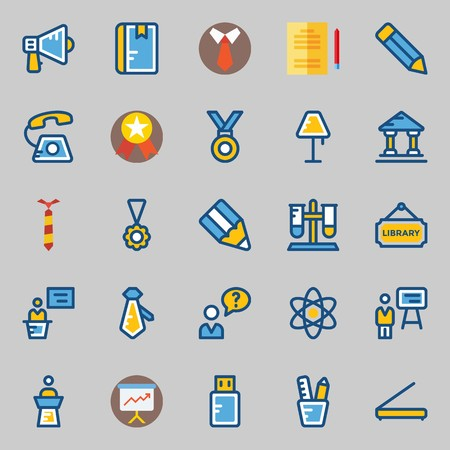 icons set about School And Education. with lecture, lamp, pencil, museum, megaphone and physics