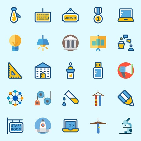 Icons about School And Education with megaphone, medal, test tube, missile, networking and startup