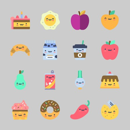 Icons about Food with coffee cup, donut, fortune cookie, peach, fried egg and cake Illustration