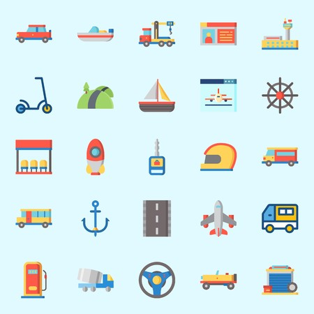 Icons about Transportation with gas station, boat, road, helmet, anchor and bus Illustration