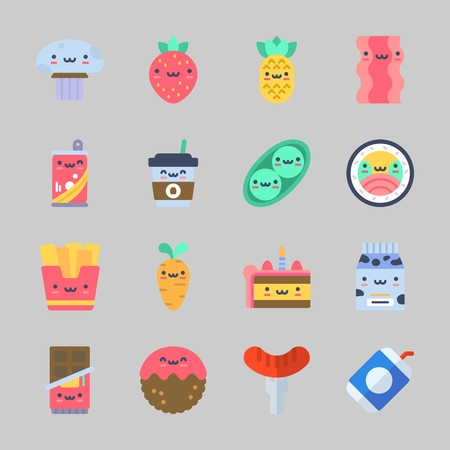 Icons about food with mushroom, hot dog, sushi, meatball, soda and chocolate. Çizim