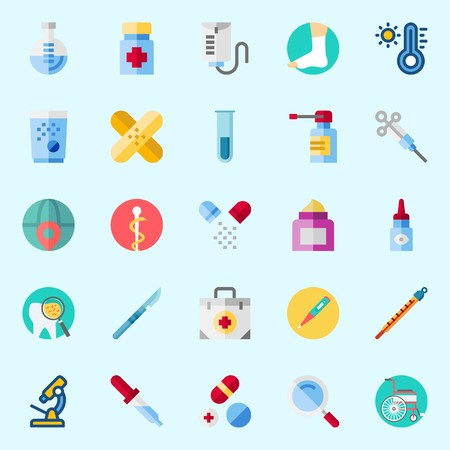 Icons set about medical with test tube, spray, syringe, first aid kit, pipette and pills.