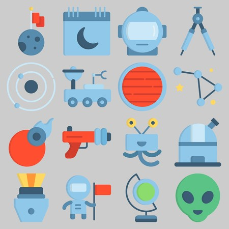 Icon set about Universe with keywords blaster, calendar, earth glope, orbit, capsule and compass