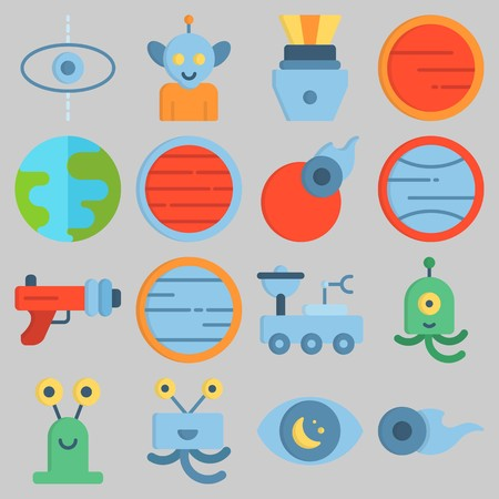 Icon set about Universe with keywords capsule, alien, observation, neptune, blaster and planet Illustration