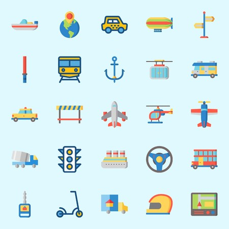 icons set about Transportation. with zeppelin, traffic light, stick, airplane, helmet and anchor Çizim