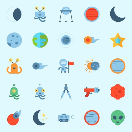 icons set about Universe. with moon, neptune, orbit, compass, moon rover and comet Vettoriali