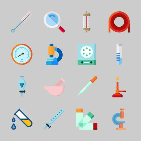 Icons about Laboratory with loupe, test tube, microscope, velocity, thermometer and funnel