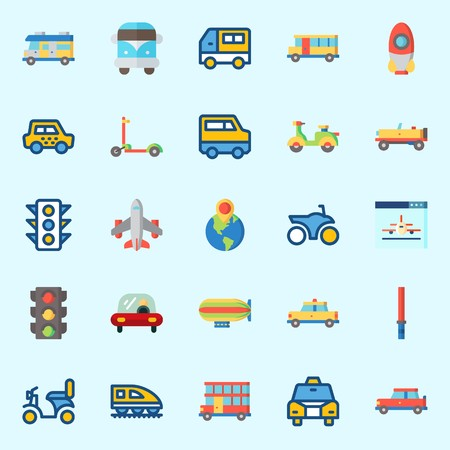 Icons set about Transportation with bus, destination, zeppelin, train, van and car
