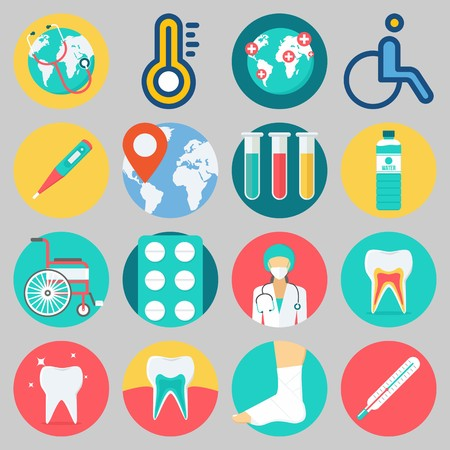 Icon set about medical with keywords sprain, tablets, surgeon, wheelchair, test tubes and worldwide.