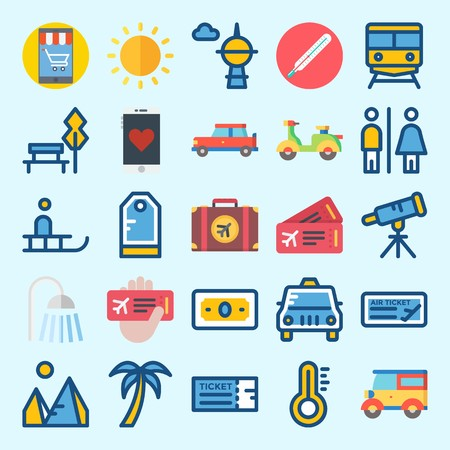 icons set about Travel. with scooter, telescope, pyramids, palm, park and sun