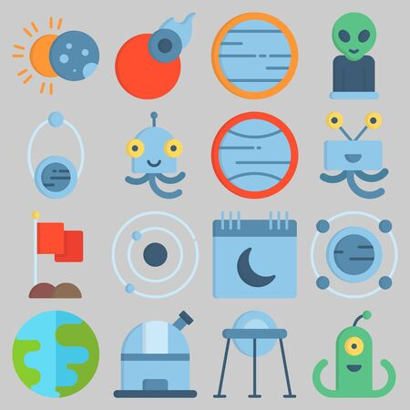 Icon set about universe with keywords earth, eclipse, capsule, observatory, flag and alien. Illustration