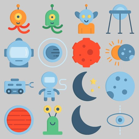 Icon set about Universe with keywords planet, astronaut, orbit, alien, moon rover and meteorite Illustration