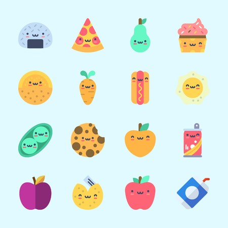 Icons about Food with melon, pea, pizza, fried egg, hot dog and carrot Standard-Bild - 98211404