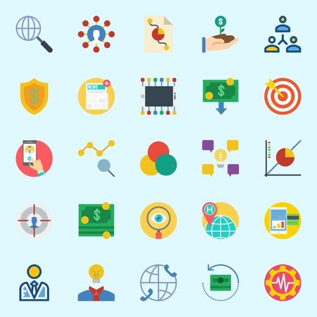 icons set about Marketing. with smartphone, networking, user, shield, settings and worldwide
