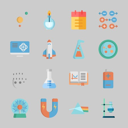 Icons about Science with open book, solar system, rocket ship, petri dish, camputer and burner