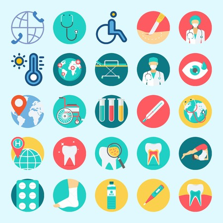 icons set about Medical. with tablets, stethoscope, stretcher, visibility, location and test tubes