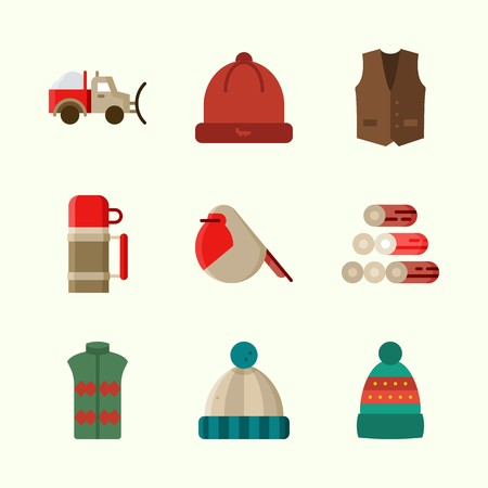 Icons about winter with snowplow, vest, robin, wood and winter hat.