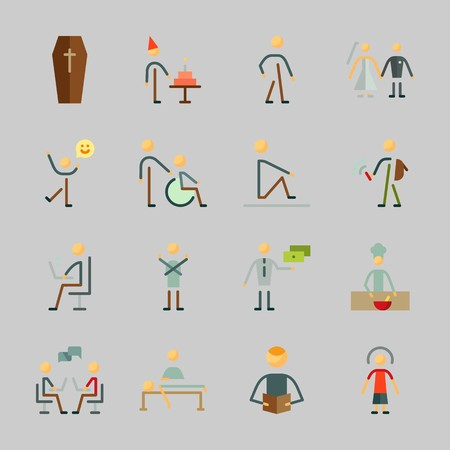 Icons about Human with exchanger, female, birthday boy, dancer, walker and cooker Illustration