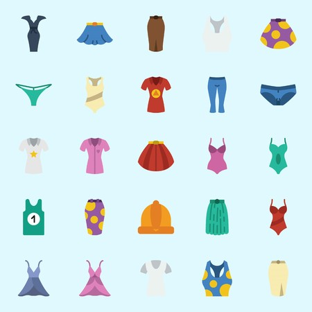 icons set about Women Clothes. with swimsuit, panties, tank top, shirt, pants and winter hat
