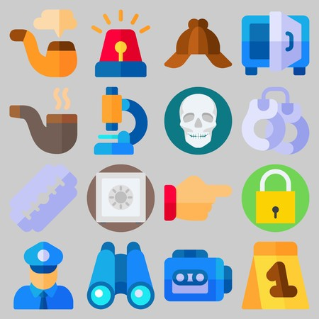 Icon set about Crime Investigation with keywords tape recorder, microscope, padlock, cap, handcruffs and point
