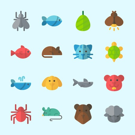 Icons about Animals with whale, hamster, mouse, rat, fish and shark Çizim
