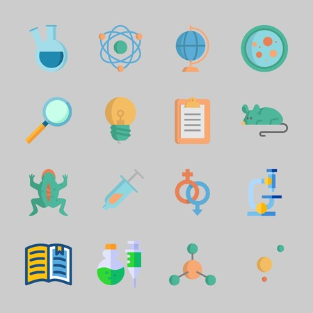 Icons about Science with syringe, loupe, gender, open book, atom and notepad