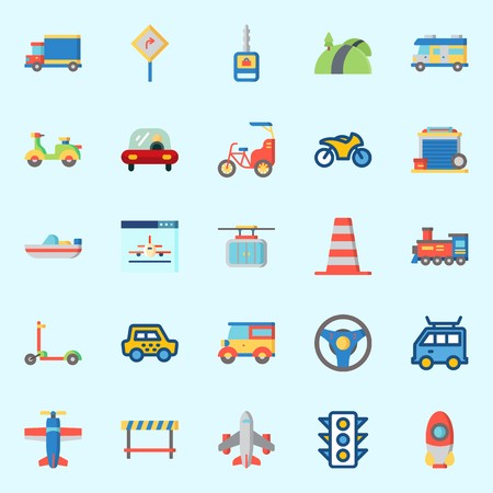 Icons set about transportation with car key, car, truck, cone, taxi and scooter.
