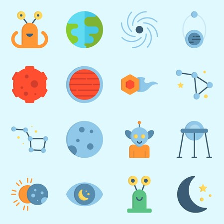 icons set about Universe. with neptune, comet, capsule, earth, eclipse and observation