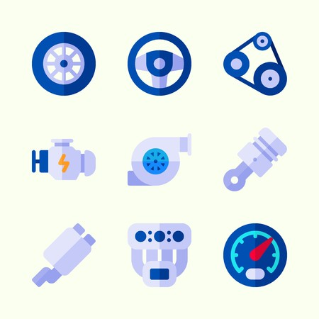 Icons about Car Engine with sreering wheel, piston, wheel, motor, engine and gauge