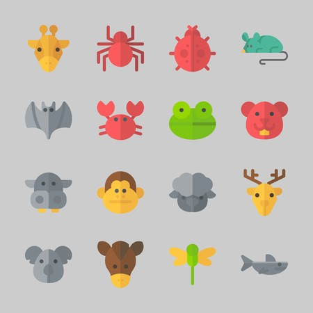 Icons about animals with shark, dragonfly, deer, koala, monkey and bat.
