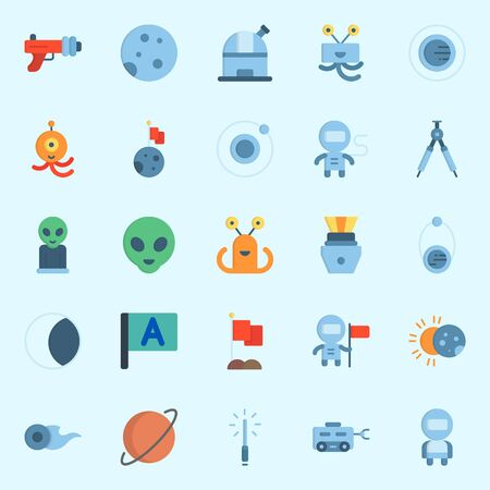 Icons about Universe with eclipse, astronaut, compass, flag, comet and moon rover Illustration