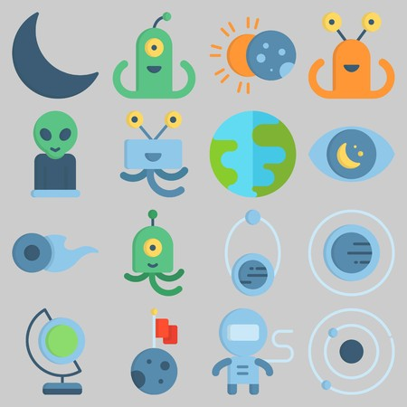 Icon set about Universe with keywords earth glope, planet, alien, earth, astronaut and moon