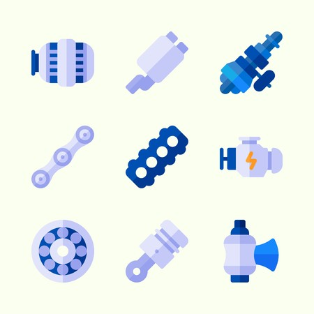 Icons about car engine with motor, distribution, engine, chain, valve and piston.