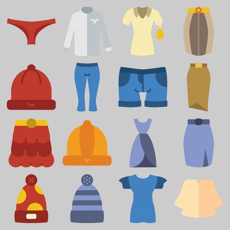 Icon set about Women Clothes with keywords dress, shirt, winter hat, shorts, panties and pants