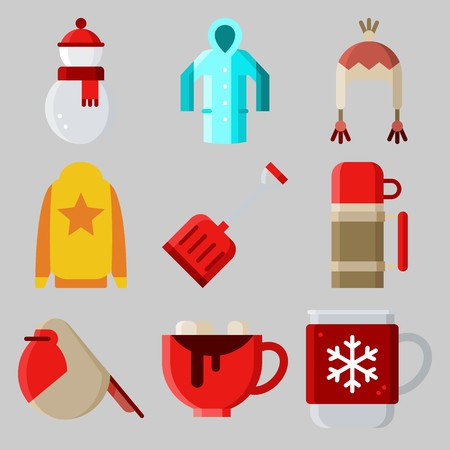 Icons set about Winter with thermo, hot drink, rain coat, snowman, shovel and sweater