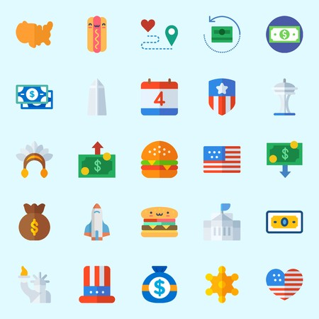 Icons about United States with hot dog, money, space needle, white house, rocket ship and route
