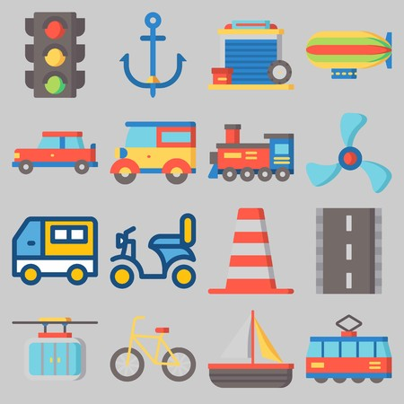 Icons set about transportation with traffic light, anchor, propeller, boat, motorbike and van.