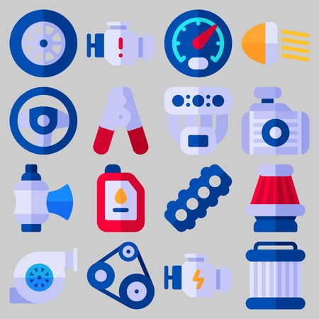 Icon set about Car Engine with keywords belt, wheel, oil, motor, sreering wheel and valve